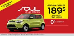 La Kia Soul 2015 en location à 189$ par mois