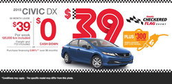 Lease the all-new Honda Civic DX 2015 starting at only $39/week