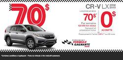 Location du Honda CR-V LX 2015 à 70$/semaine