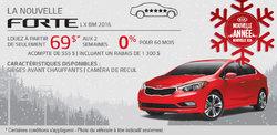 Louez la nouvelle Kia Forte 2016 à 69$ aux deux semaines
