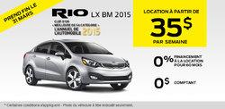Louez la nouvelle Kia Rio LX BM 2015 à vous à partir de 151$ par mois