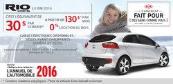 Louez la nouvelle Kia Rio5 2016 à 130$ par mois